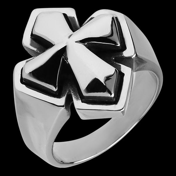 STAINLESS STEEL KNIGHT'S CROSS RING