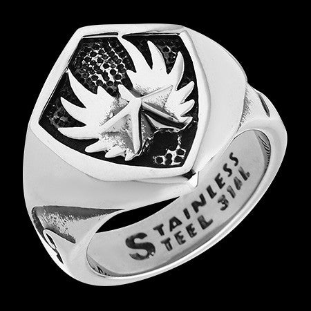 STAINLESS STEEL ANGEL WINGS RING