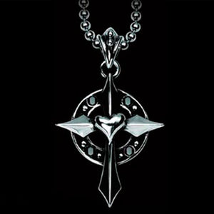 STAINLESS STEEL black CZ CELTIC KNIGHT'S LOVE HEART CROSS NECKLACE