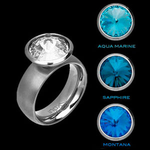 STAINLESS STEEL INOX BLUE HUES INTERCHANGE RING - 1