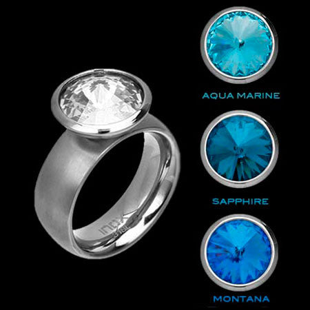 STAINLESS STEEL INOX BLUE HUES INTERCHANGE RING