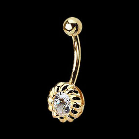 14 KARAT GOLD CZ BELLY BAR