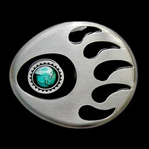 NATIVE AMERICAN INDIAN BEAR PAW BELT BUCKLE