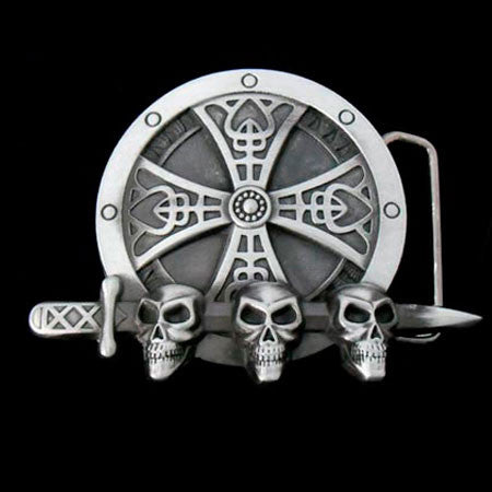 CROSS DAGGER SKULL BELT BUCKLE