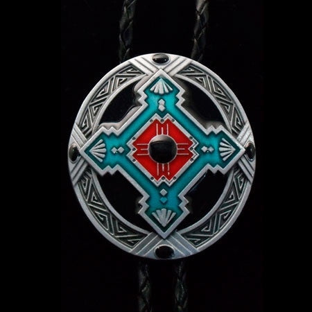 AMERICAN INDIAN OVAL CROSS LEATHER BOLO TIE