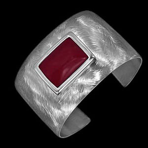 STAINLESS STEEL RED STONE CUFF BRACELET