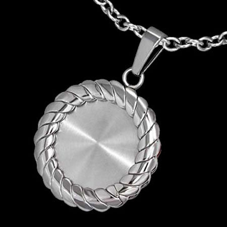STAINLESS STEEL CIRCLE ROPE BORDERED NECKLACE