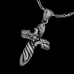 STAINLESS STEEL BLACK CRYSTAL DAGGER CROSS NECKLACE