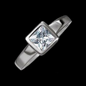 STAINLESS STEEL CUSHION SOLITAIRE RING