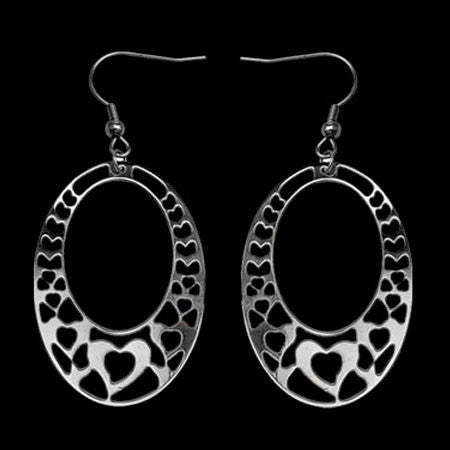 STAINLESS STEEL OVAL FILIGREE HEART EARRINGS