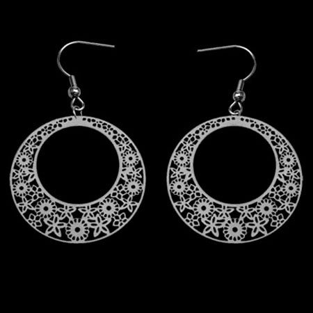 STAINLESS STEEL FLORAL FILIGREE EARRINGS