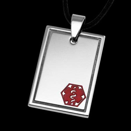 STAINLESS STEEL HIGH POLISHED SQUARE MEDI ALERT TAG NECKLACE