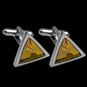STAINLESS STEEL CITRUS STONE TRIANGLE CUFFLINKS
