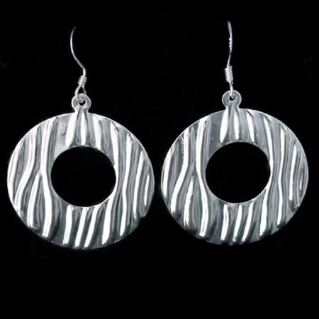 STERLING SILVER SAND RIPPLED CIRCLE EARRINGS