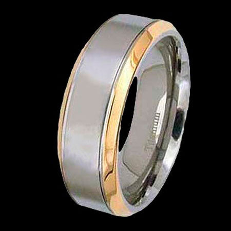 TITANIUM MATTE BAND & GOLD TRIM RING