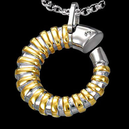 STAINLESS STEEL GOLD COILED SHELL NECKLACE