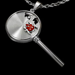STAINLESS STEEL KEY AND LADY BIRD NECKLACE