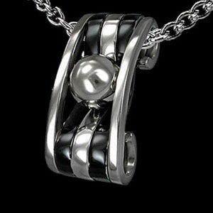 STAINLESS STEEL BLACK BANDED AND BALL BEARING NECKLACE
