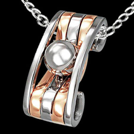 STAINLESS STEEL COPPER BANDED AND BALL BEARING NECKLACE