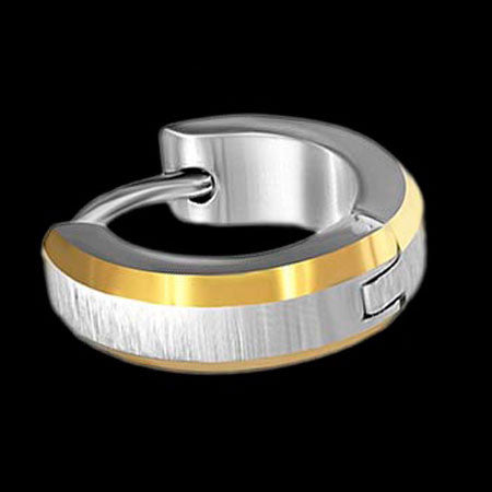 STAINLESS STEEL MATTE GOLD IP TRIM MEN'S HUGGIE EARRING - 2