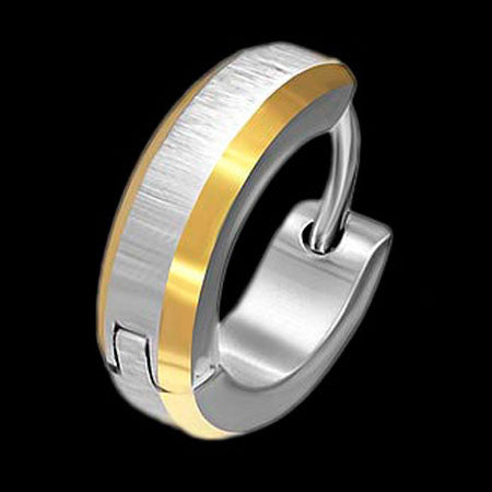 STAINLESS STEEL MATTE GOLD IP TRIM MEN'S HUGGIE EARRING - 1