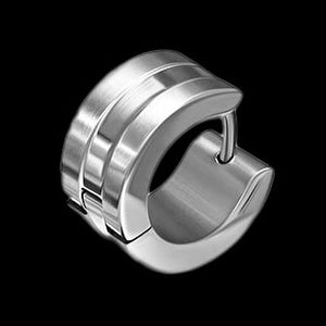 STAINLESS STEEL BAND MEN'S WIDE HUGGIE EARRING - 1