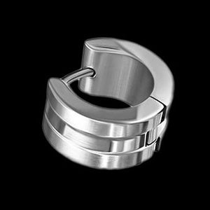 STAINLESS STEEL BAND MEN'S WIDE HUGGIE EARRING - 2