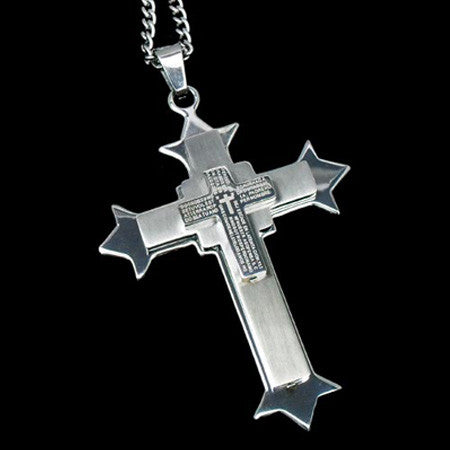 STAINLESS STEEL LORDS PRAYER SILVER CROSS