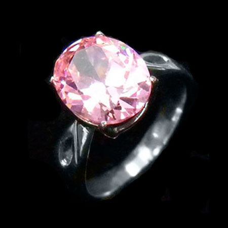 STAINLESS STEEL PINK OVAL CZ RING