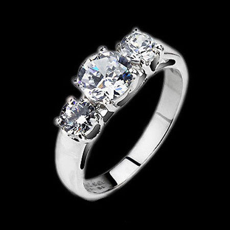 STAINLESS STEEL CZ TRIO RING