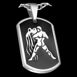 STAINLESS STEEL AQUARIUS ZODIAC DOG TAG NECKLACE