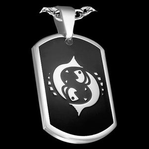 STAINLESS STEEL PISCES ZODIAC DOG TAG - 1