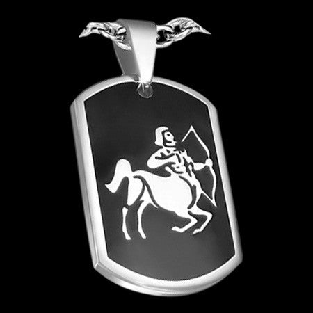 STAINLESS STEEL SAGITTARIUS ZODIAC DOG TAG NECKLACE