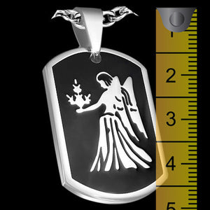 STAINLESS STEEL VIRGO ZODIAC DOG TAG NECKLACE - MEASUREMENT