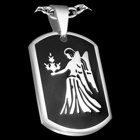 STAINLESS STEEL VIRGO ZODIAC DOG TAG - 1