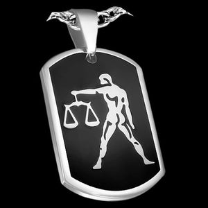 STAINLESS STEEL LIBRA ZODIAC DOG TAG NECKLACE