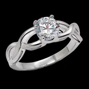 STAINLESS STEEL CZ SOLITAIRE LADIES WEAVE RING