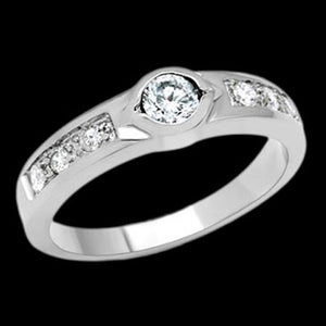 STAINLESS STEEL CHANNEL SET BEZEL SOLITAIRE RING