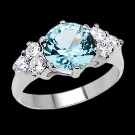 STAINLESS STEEL BLUE TOPAZ CLUSTER RING