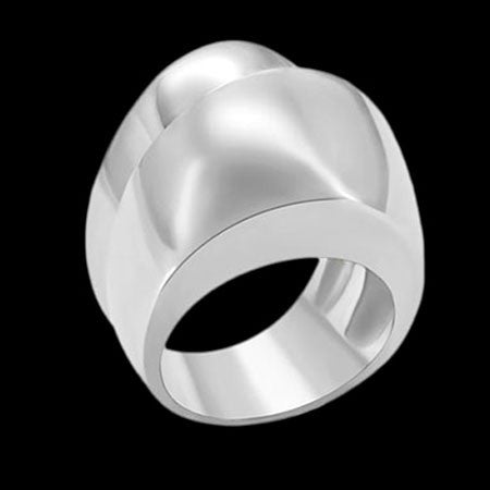 STAINLESS STEEL DOUBLE WAVE LADIES RING