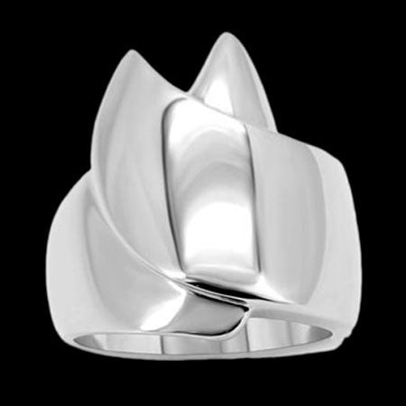 STAINLESS STEEL LADIES TWIN PEAKS RING