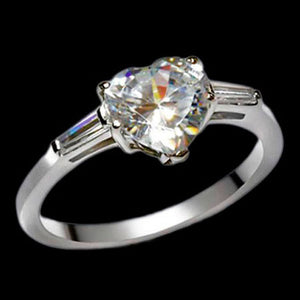 STAINLESS STEEL CZ HEART LADIES RING