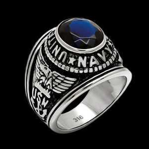 STAINLESS STEEL US NAVY BLUE CZ SIGNET RING