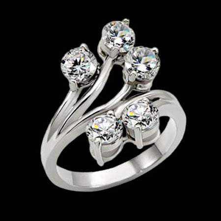 STAINLESS STEEL FIVE CZ STAR BURST RING