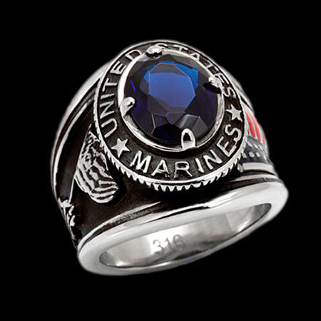 STAINLESS STEEL US MARINES BLUE CZ SIGNET RING