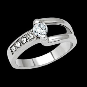 STAINLESS STEEL LADIES CZ BUCKLE RING