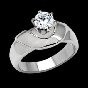 STAINLESS STEEL LADIES SOLITAIRE CATHEDRAL RING