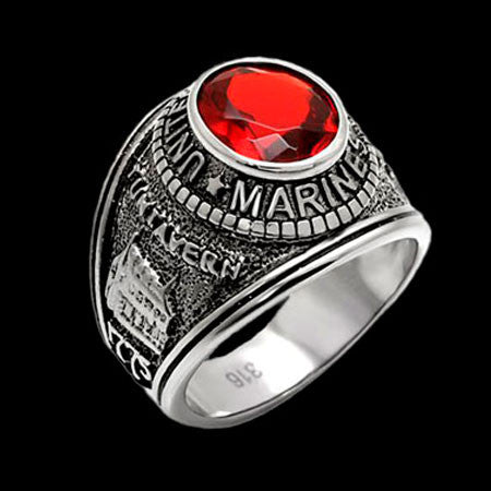 STAINLESS STEEL US MARINES RED CZ SIGNET RING