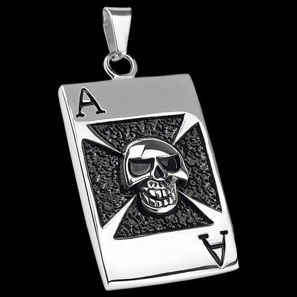 STAINLESS STEEL ACE IRON CROSS SKULL DOG TAG NECKLACE