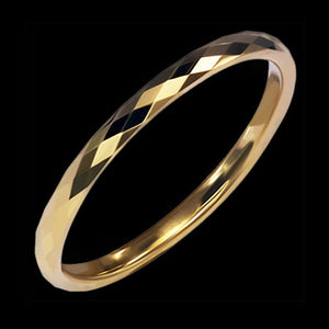 TUNGSTEN CARBIDE GOLD IP 2MM DIAMOND CUT RING